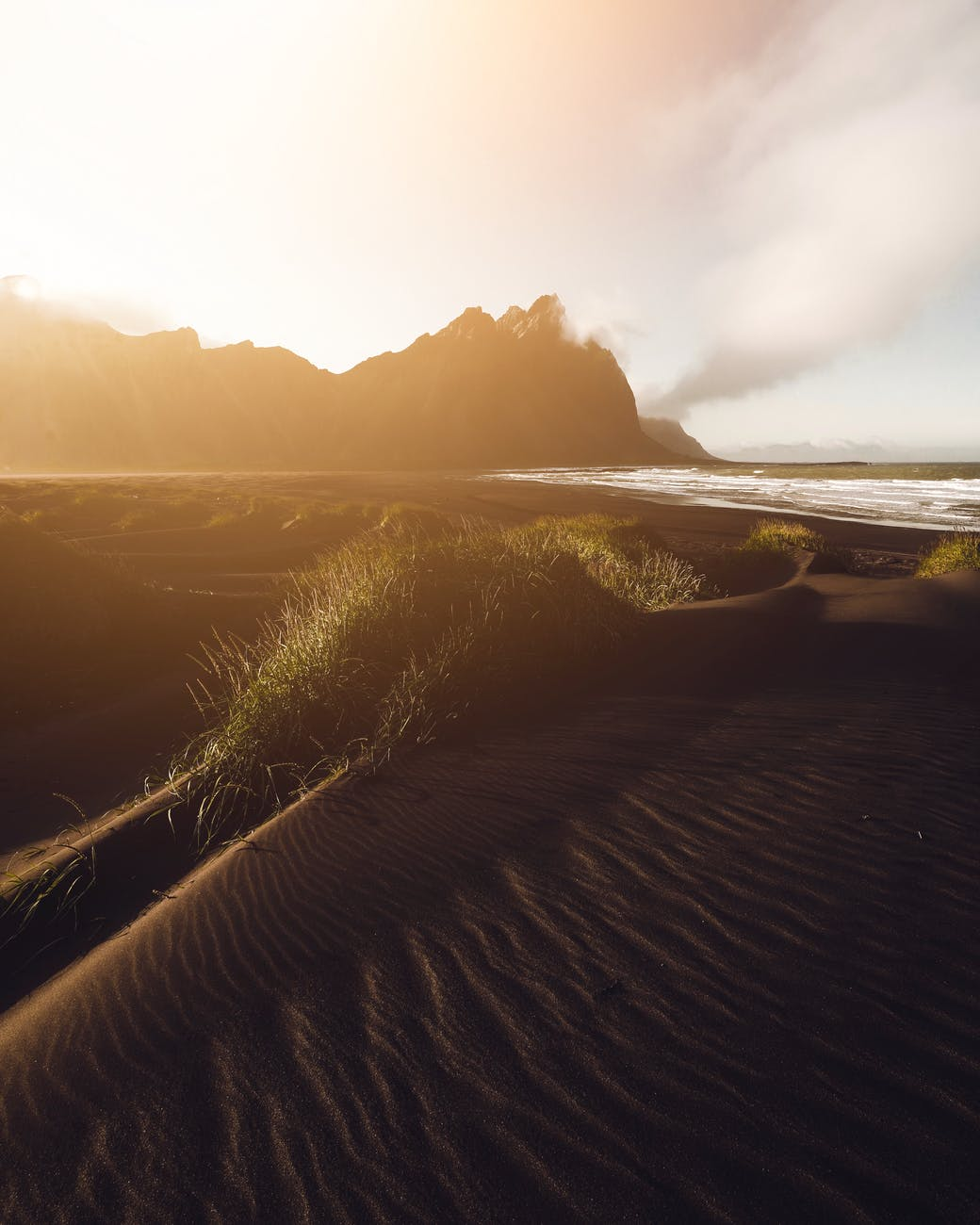 sandy beach in evening time